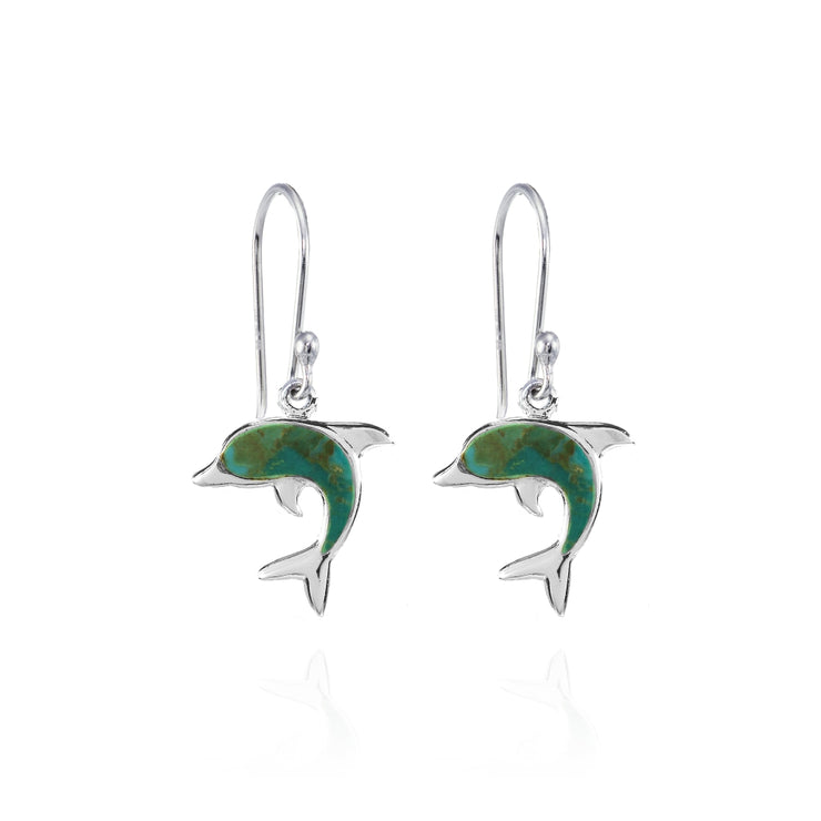 Sterling Silver Created Turquoise Dolphin Animal Dangle Earrings