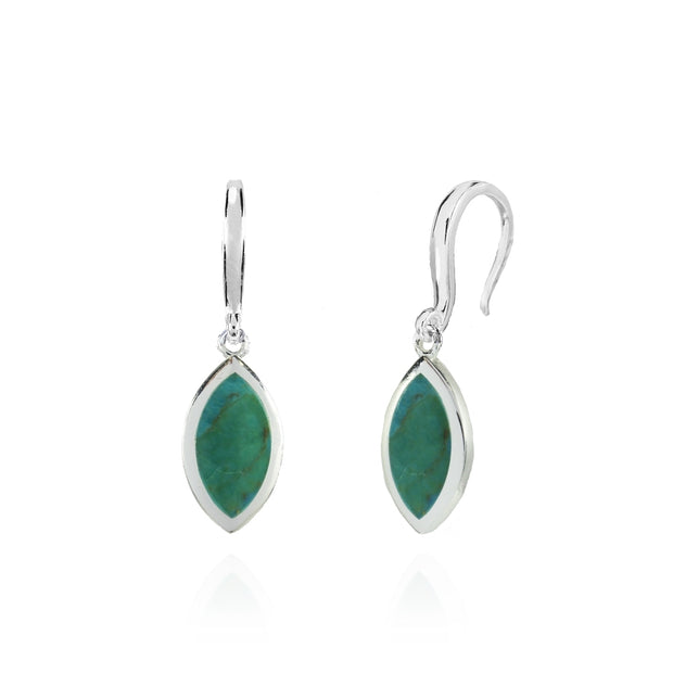 Sterling Silver Created Turquoise Polished Marquise Dangle Earrings