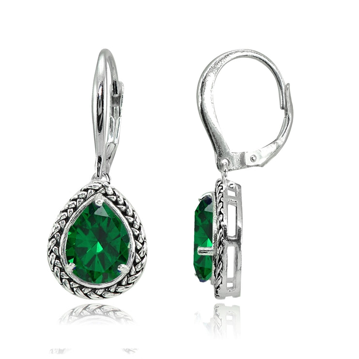 Sterling Silver Simulated Emerald Pear-Cut Oxidized Rope Dangle Leverback Earrings