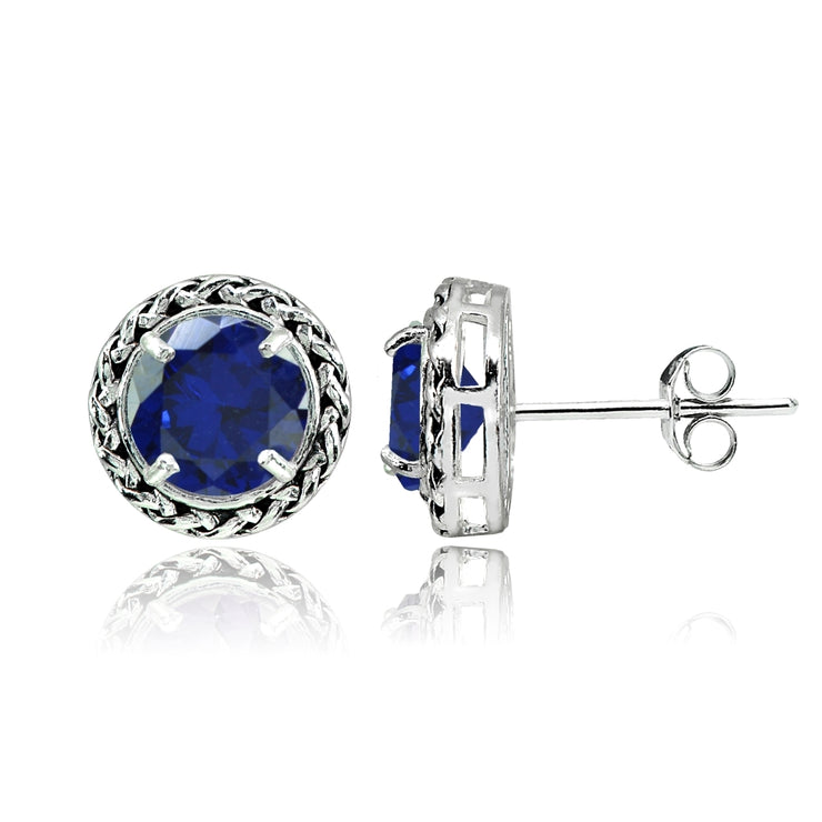 Sterling Silver Created Blue Sapphire Round Oxidized Rope Stud Earrings