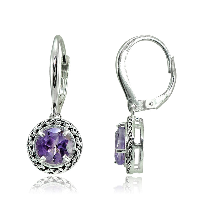 Sterling Silver Amethyst Round Oxidized Rope Dangle Leverback Earrings