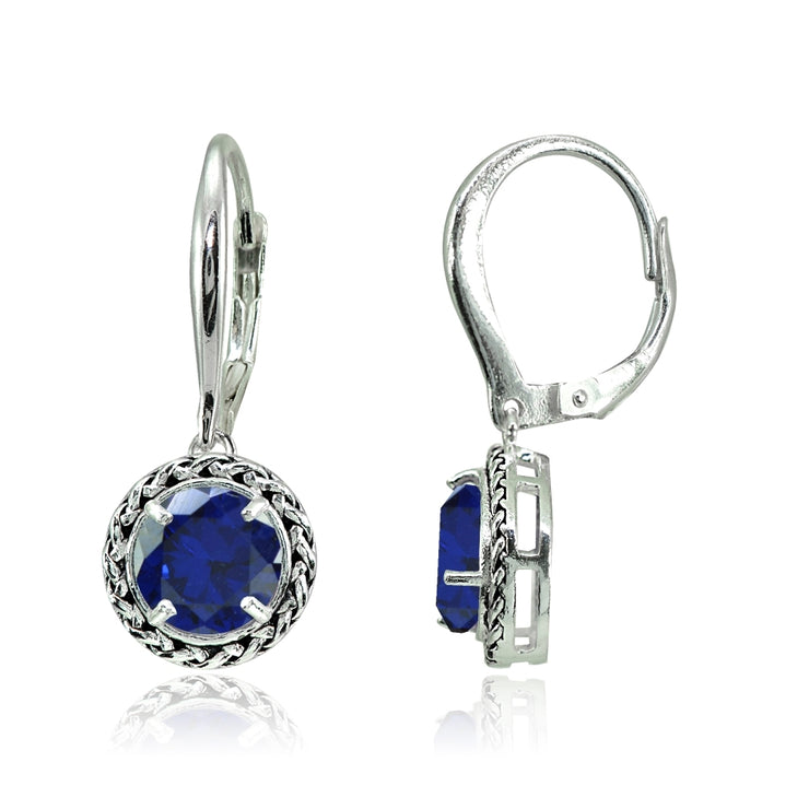 Sterling Silver Created Blue Sapphire Round Oxidized Rope Dangle Leverback Earrings
