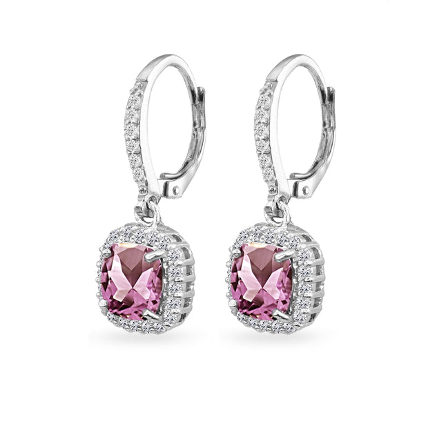 Sterling Silver Simulated Alexandrite Cushion-Cut Dangle Halo Leverback Earrings with White Topaz Accents