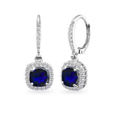 Sterling Silver Created Blue Sapphire Cushion-Cut Dangle Halo Leverback Earrings with White Topaz Accents