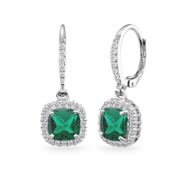Sterling Silver Created Emerald Cushion-Cut Dangle Halo Leverback Earrings with White Topaz Accents