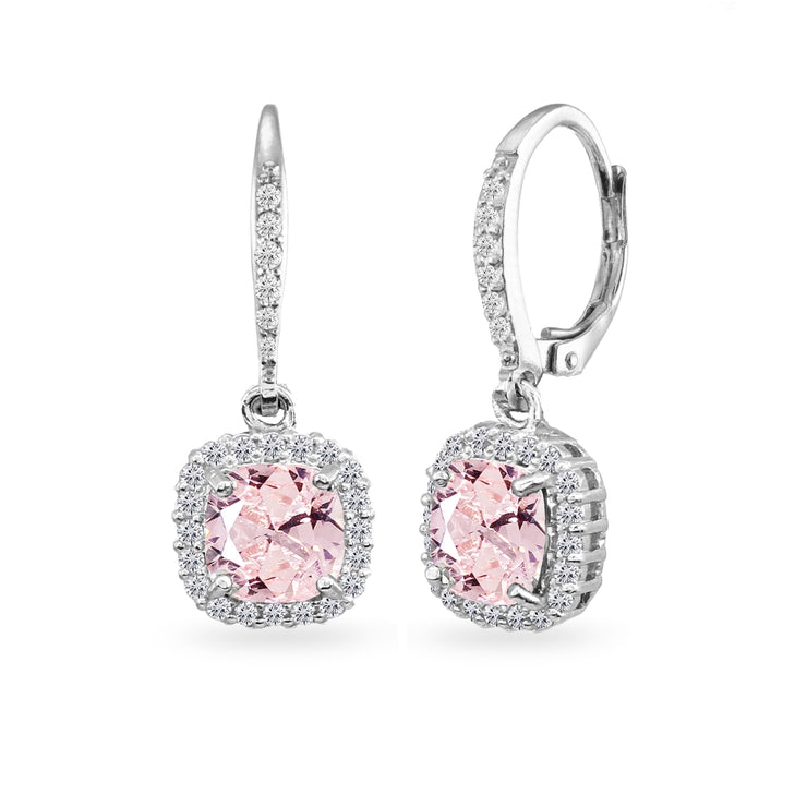 Sterling Silver Created Morganite Cushion-Cut Dangle Halo Leverback Earrings with White Topaz Accents
