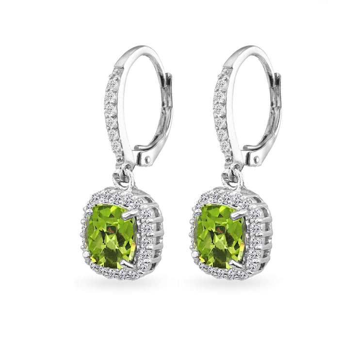 Sterling Silver Peridot Cushion-Cut Dangle Halo Leverback Earrings with White Topaz Accents