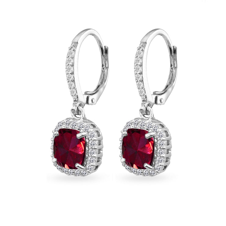 Sterling Silver Created Ruby Cushion-Cut Dangle Halo Leverback Earrings with White Topaz Accents