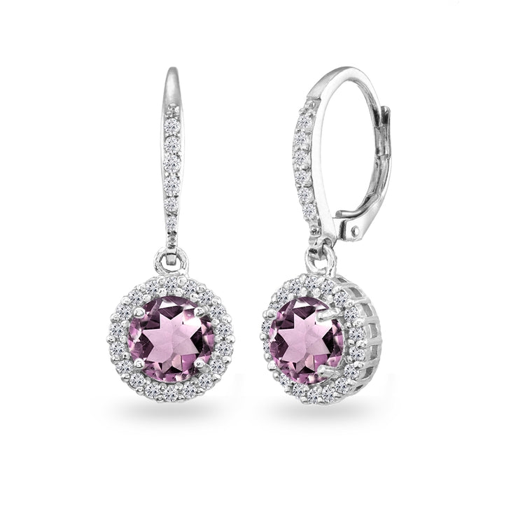 Sterling Silver Created Alexandrite Round Dangle Halo Leverback Earrings with White Topaz Accents