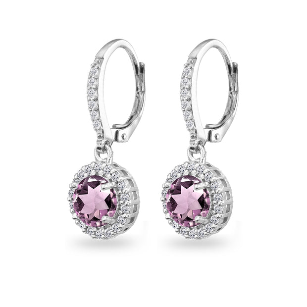 Sterling Silver Simulated Alexandrite Round Dangle Halo Leverback Earrings with White Topaz Accents