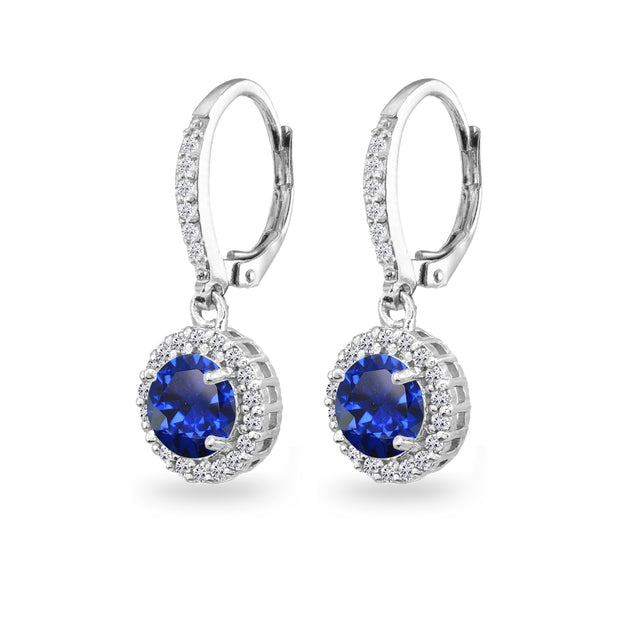 Sterling Silver Created Blue Sapphire Round Dangle Halo Leverback Earrings with White Topaz Accents