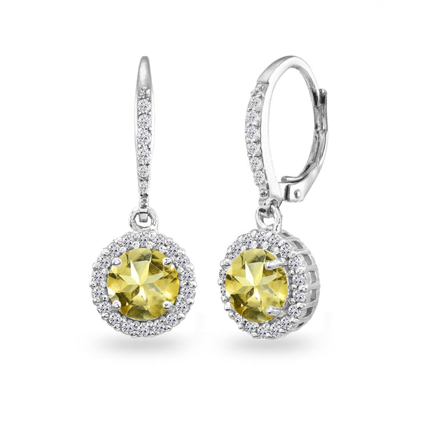Sterling Silver Citrine Round Dangle Halo Leverback Earrings with White Topaz Accents