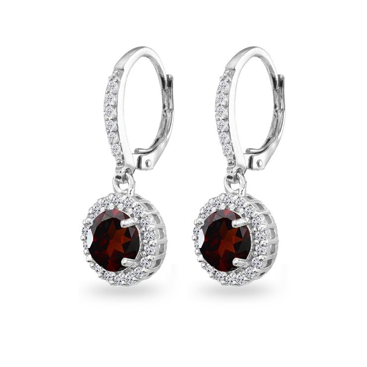 Sterling Silver Garnet Round Dangle Halo Leverback Earrings with White Topaz Accents