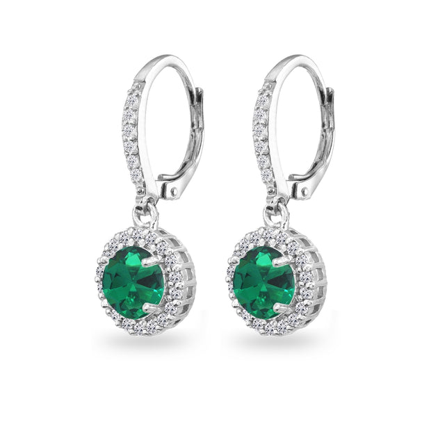 Sterling Silver Created Emerald Round Dangle Halo Leverback Earrings with White Topaz Accents