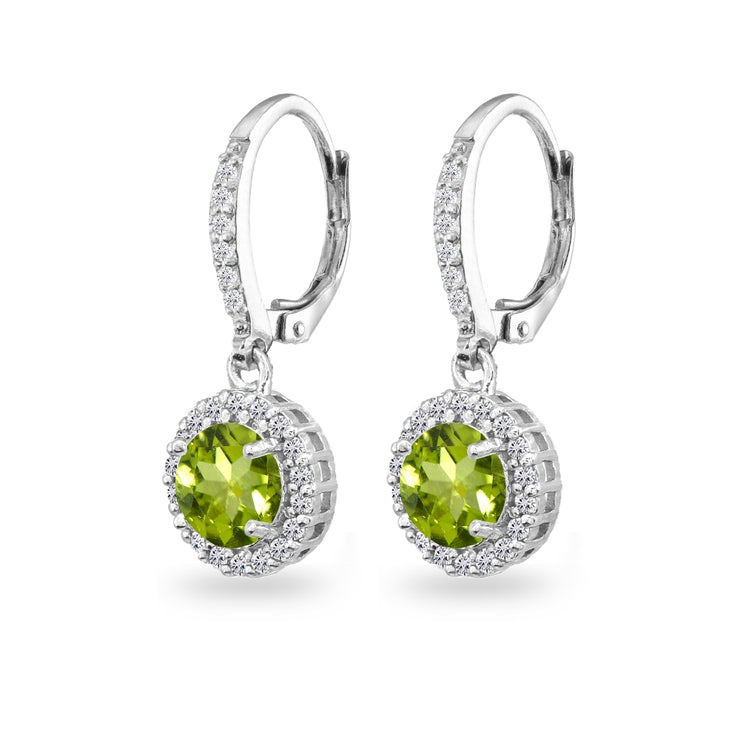 Sterling Silver Peridot Round Dangle Halo Leverback Earrings with White Topaz Accents