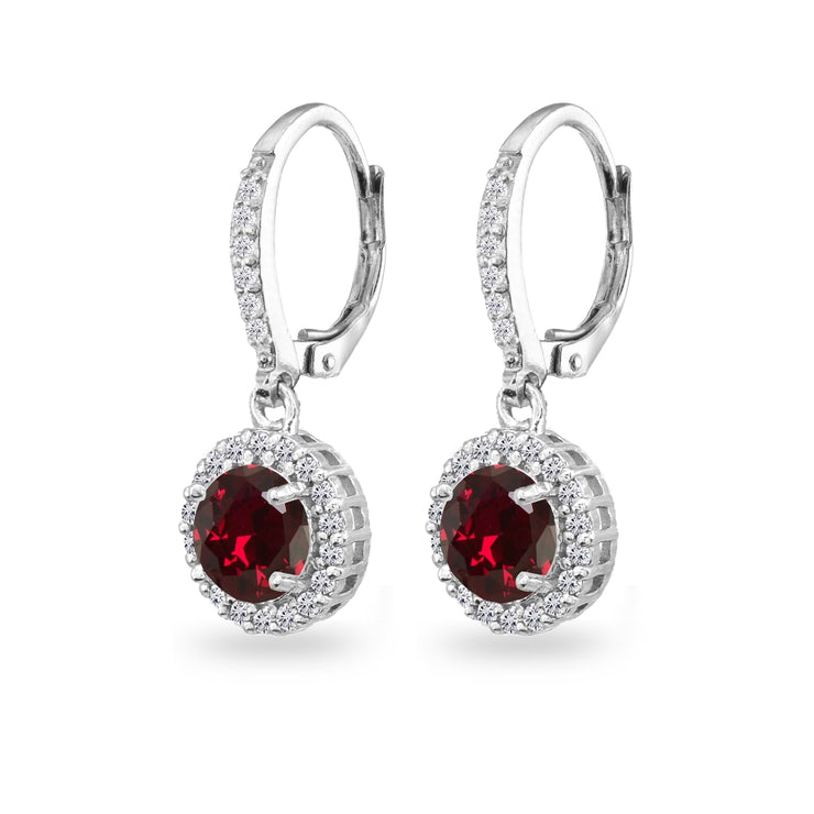 Sterling Silver Created Ruby Round Dangle Halo Leverback Earrings with White Topaz Accents