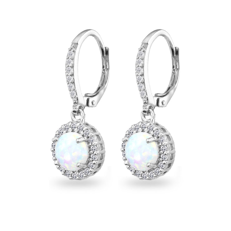 Sterling Silver Created Opal Round Dangle Halo Leverback Earrings with White Topaz Accents