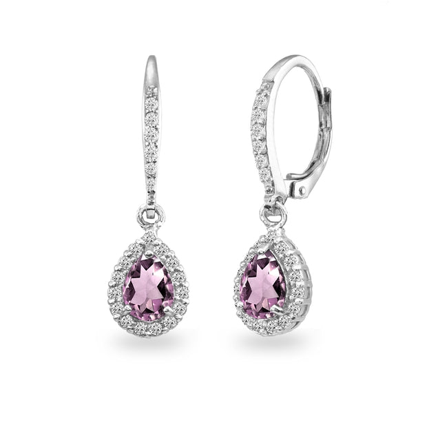 Sterling Silver Simulated Alexandrite Teardrop Dangle Halo Leverback Earrings with White Topaz Accents