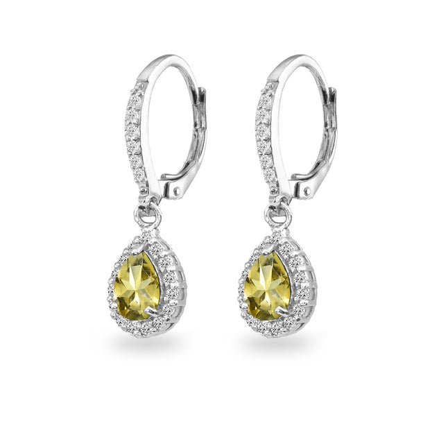 Sterling Silver Citrine Teardrop Dangle Halo Leverback Earrings with White Topaz Accents