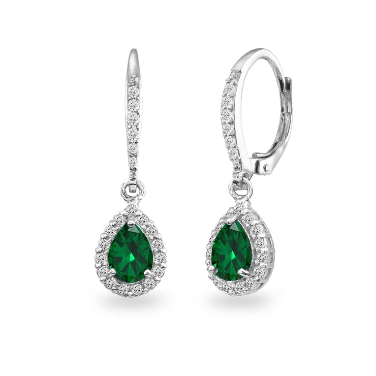 Sterling Silver Simulated Emerald Teardrop Dangle Halo Leverback Earrings with White Topaz Accents
