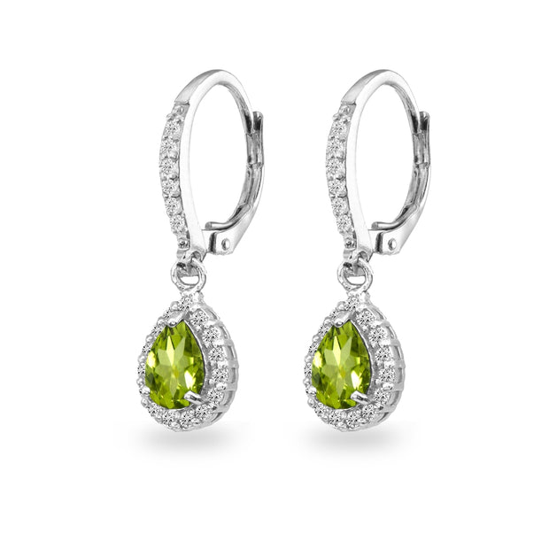 Sterling Silver Peridot Teardrop Dangle Halo Leverback Earrings with White Topaz Accents