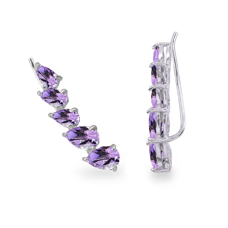 Sterling Silver Amethyst Teardrop Curved Climber Crawler Earrings