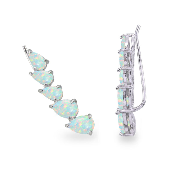 Sterling Silver Simulated Opal Teardrop Curved Climber Crawler Earrings