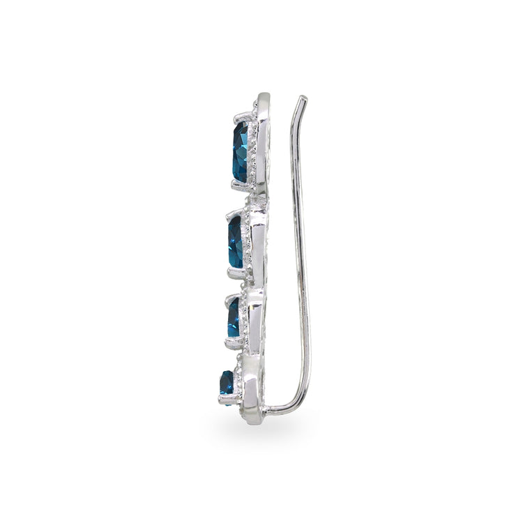 Sterling Silver London Blue & White Topaz Marquise Halo Climber Crawler Earrings