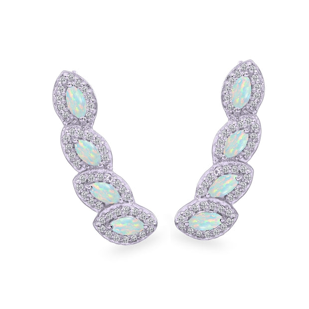Sterling Silver Created Opal & White Topaz Marquise Halo Climber Crawler Earrings