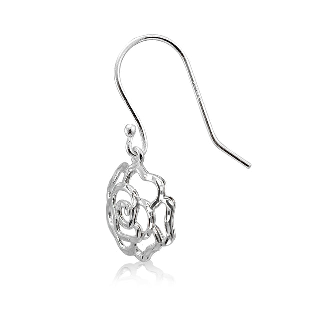Sterling Silver High Polished Diamond-cut Filigree Rose Flower Dangle Earrings