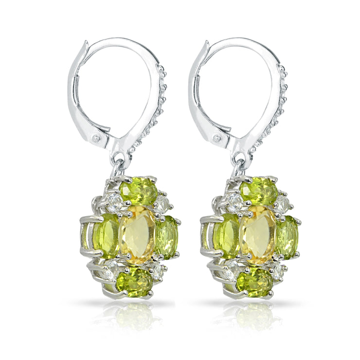 Sterling Silver Citrine and Peridot Oval Leverback Earrings with White Topaz Accents