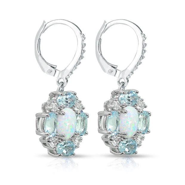 Sterling Silver Created Opal and Blue Topaz Oval Leverback Earrings with White Topaz Accents