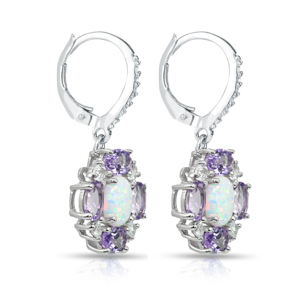 Sterling Silver Created Opal and Amethyst Oval Leverback Earrings with White Topaz Accents