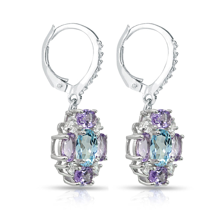 Sterling Silver Amethyst and Blue Topaz Oval Leverback Earrings with White Topaz Accents