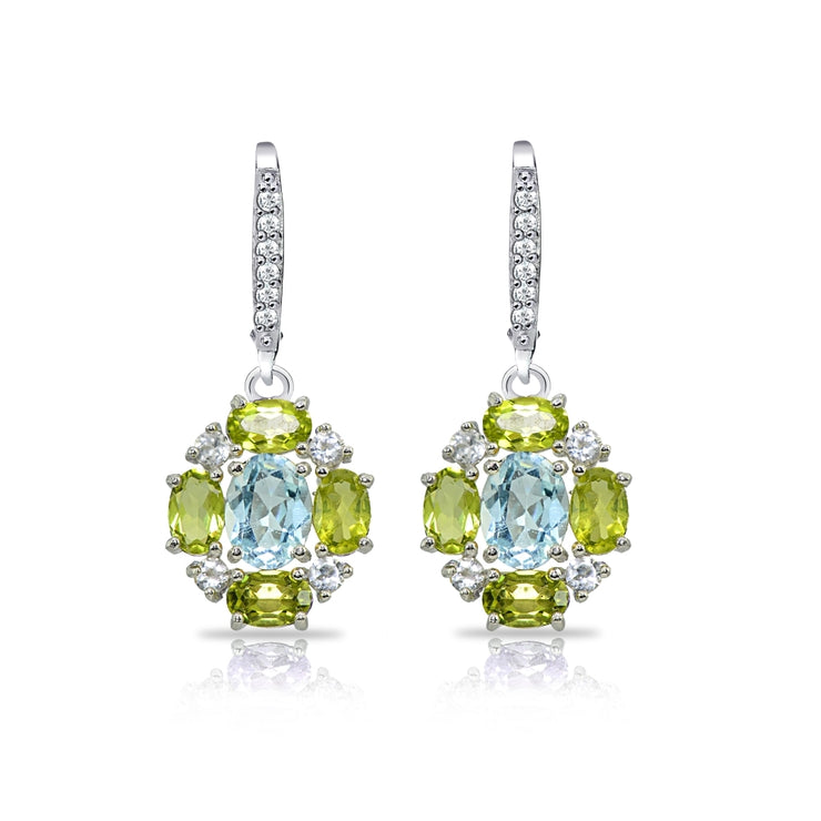 Sterling Silver Blue Topaz and Peridot Oval Leverback Earrings with White Topaz Accents
