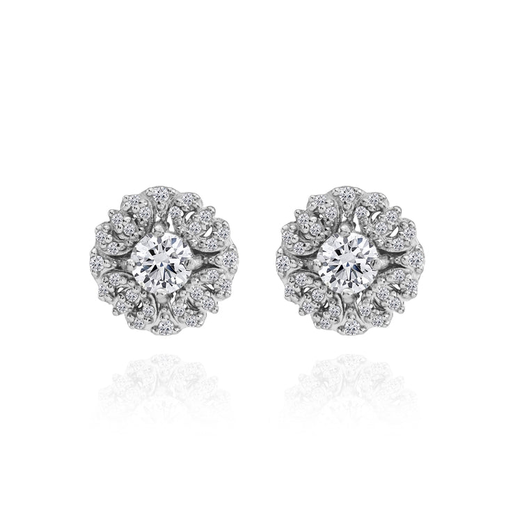 Sterling Silver Cubic Zirconia Round Flower Cluster Stud Earrings