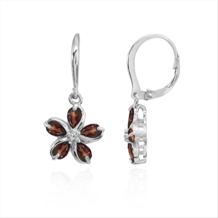 Sterling Silver Garnet Polished Flower Dangle Leverback Earrings