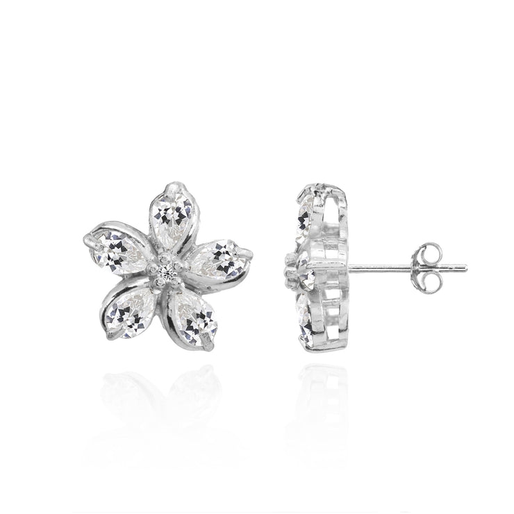 Sterling Silver Cubic Zirconia Polished Flower Stud Earrings
