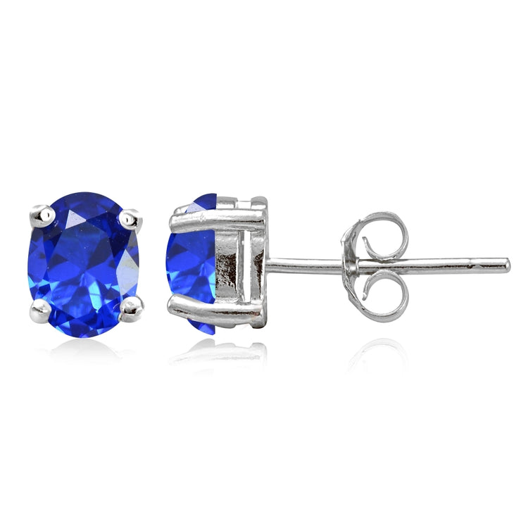 Sterling Silver Created Blue Sapphire 7x5mm Oval Stud Earrings