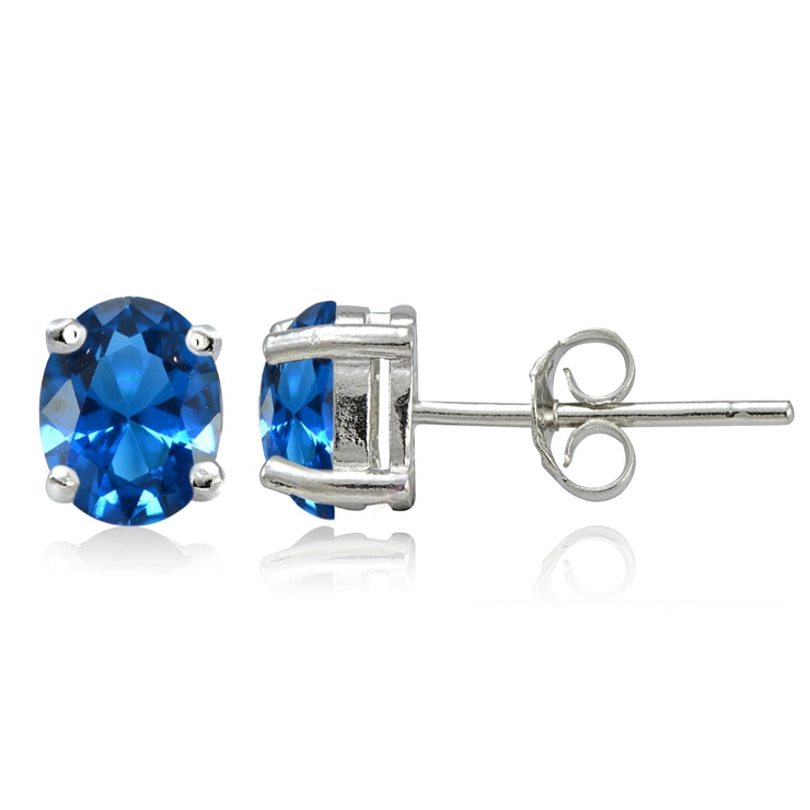 Sterling Silver Created London Blue Topaz 7x5mm Oval Stud Earrings