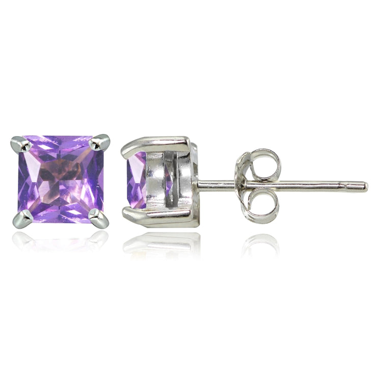 Sterling Silver Created Amethyst 5mm Princess-cut Stud Earrings
