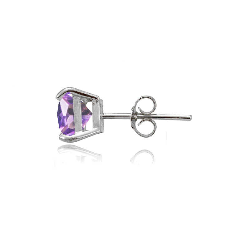 Sterling Silver Created Amethyst 6mm Princess-cut Stud Earrings