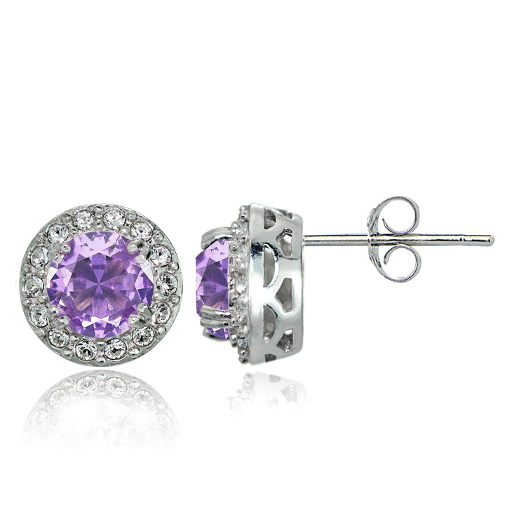 Sterling Silver Created Amethyst and CZ Accents Round Halo Stud Earrings