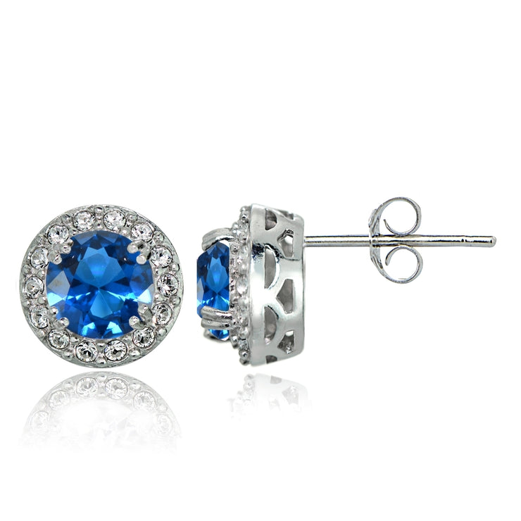 Sterling Silver Created London Blue Topaz and CZ Accents Round Halo Stud Earrings