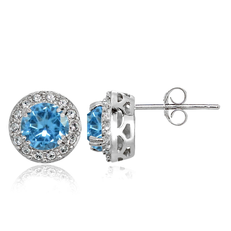 Sterling Silver Created Blue Topaz and CZ Accents Round Halo Stud Earrings