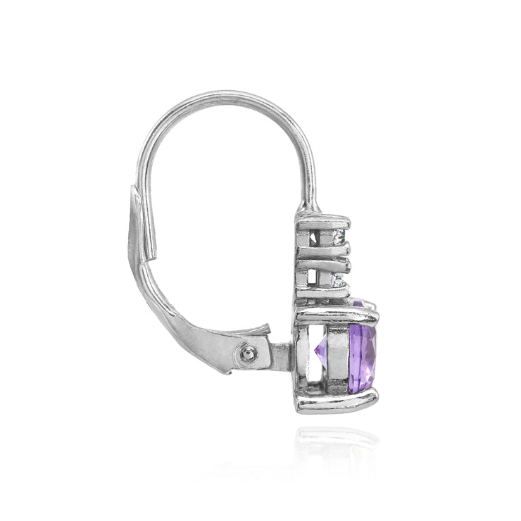 Sterling Silver Created Amethyst 6mm Round and CZ Accents Leverback Earrings