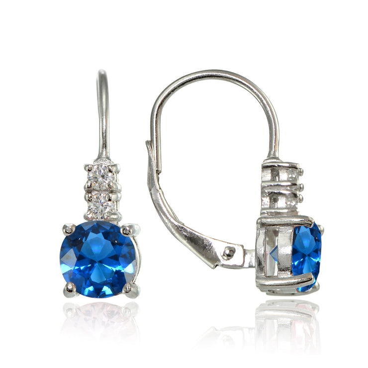Sterling Silver Created London Blue Topaz 6mm Round and CZ Accents Leverback Earrings