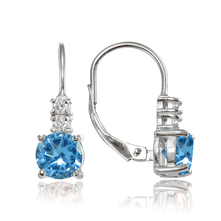 Sterling Silver Created Blue Topaz 6mm Round and CZ Accents Leverback Earrings