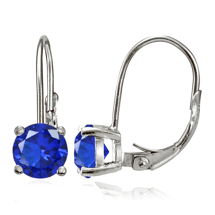Sterling Silver Created Blue Sapphire 6mm Round Leverback Earrings