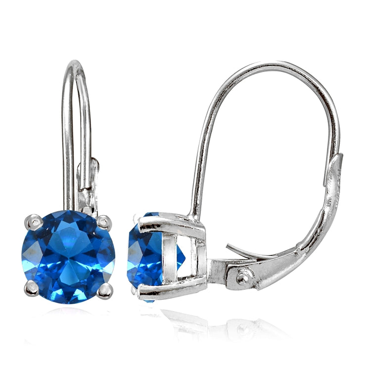 Sterling Silver Created London Blue Topaz 6mm Round Leverback Earrings